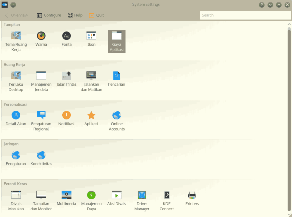 KDE 5 control panel with search