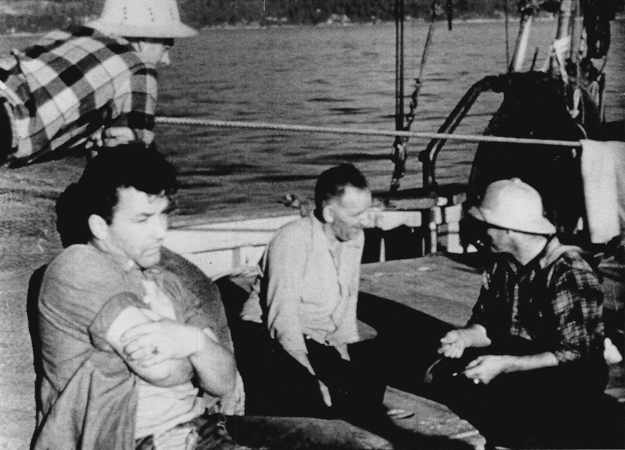 Bruno Gerussi (seated, left) as crewman Matt Johnson in