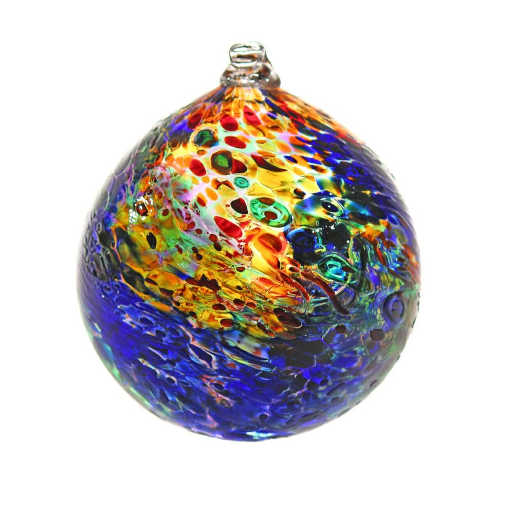 Blown glass suncatcher, rich transparent colors, nine inches in diameter