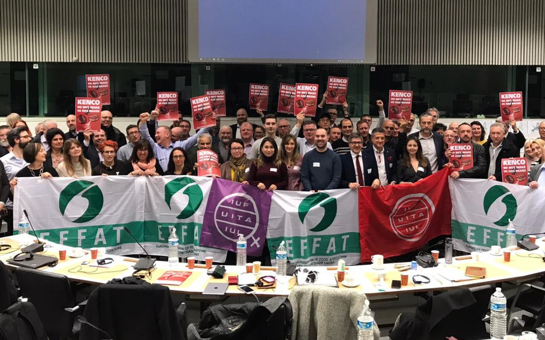 EFFAT ExCom stands with workers at JDE coffee processing plant, UK