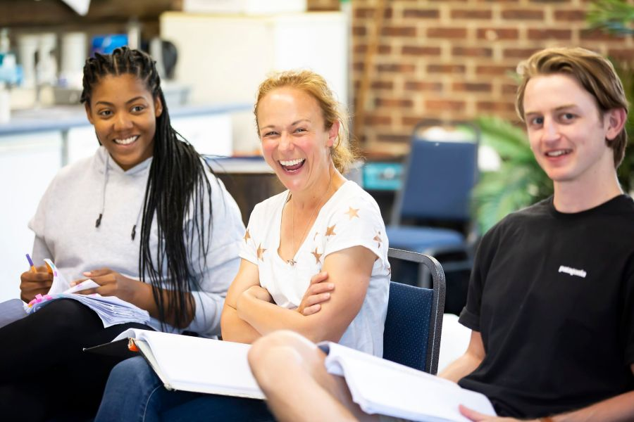 As You Like It Rehearsals: Chanelle Modi, Emma Manton and Ned Rudkins-Stow. Picture: Pamela Raith Photography