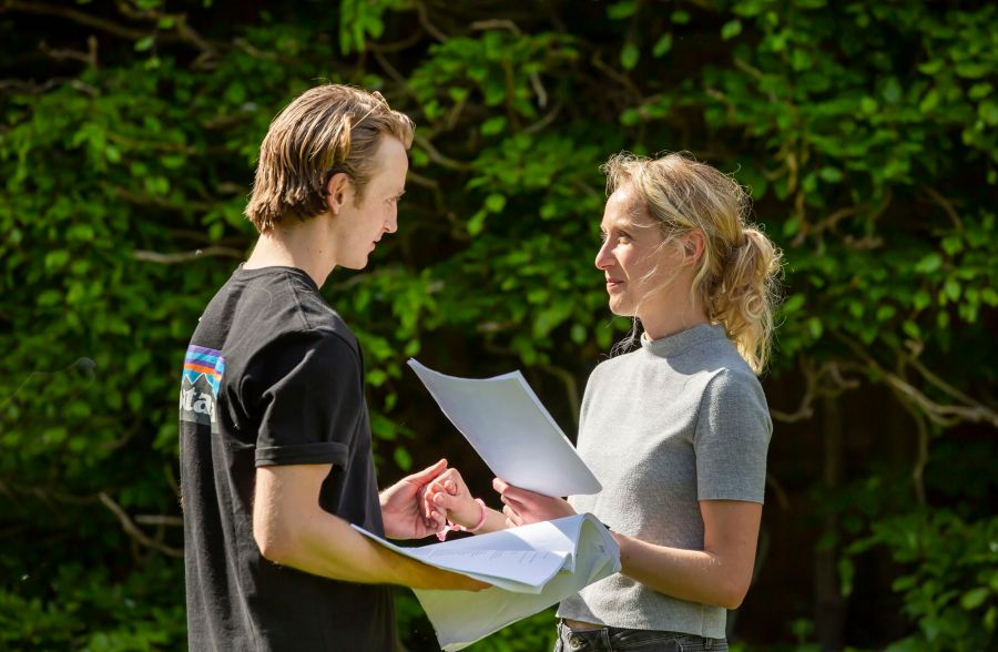 As You Like It Rehearsals: Ned Rudkins-Stow and Katherine Jack. Picture: Pamela Raith Photography