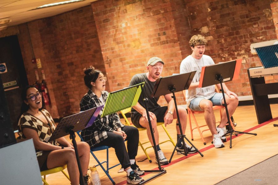 Grace Mouat, Nicola Espallardo, Andrew Patrick-Walker and Aidan Harkins, From Here rehearsals. Picture credit: Lucy Gray.
