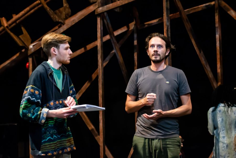 David Haller and Anthony Spargo in rehearasal for Pinocchio at Greenwich Theatre (credit Lidia Crisafulli)