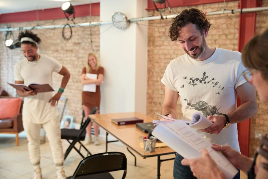 Laurence Ubong Williams, Kirsty Oswald and Blake Harrison in rehearsals for A Place for We By Archie Maddocks at the Park Theatre. Directed by Michael Buffong.