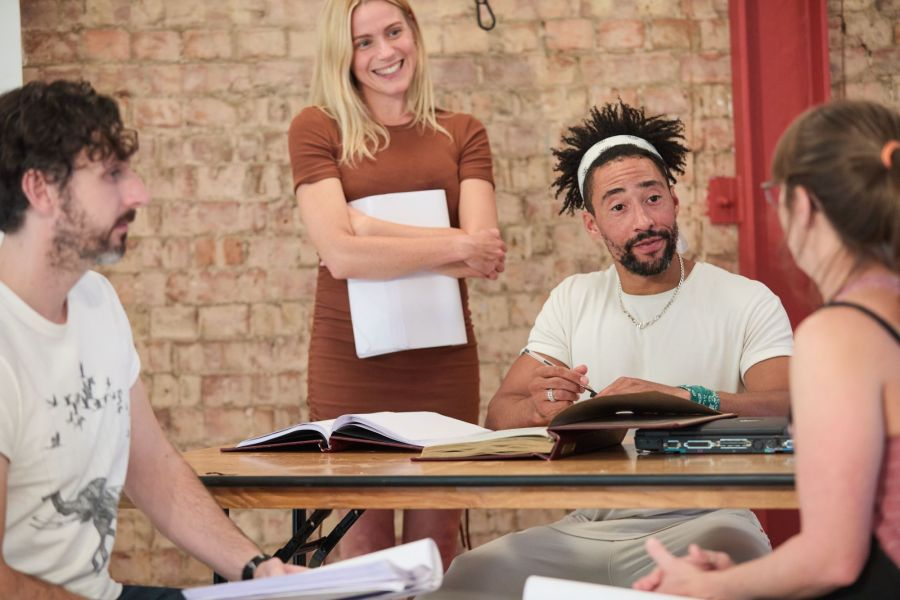 Blake Harrison, Kirsty Oswald and Laurence Ubong Williams in rehearsals for A Place for We By Archie Maddocks at the Park Theatre. Directed by Michael Buffong.