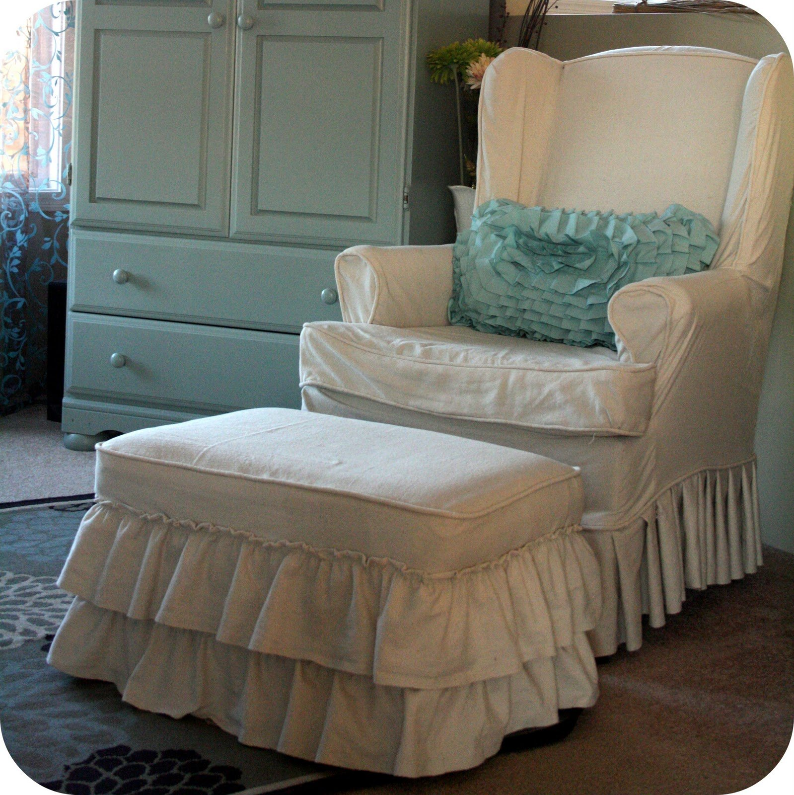 Slipcover For Oversized Chair And Ottoman Slipcovers For Chairs And Ottomans Home Furniture Design