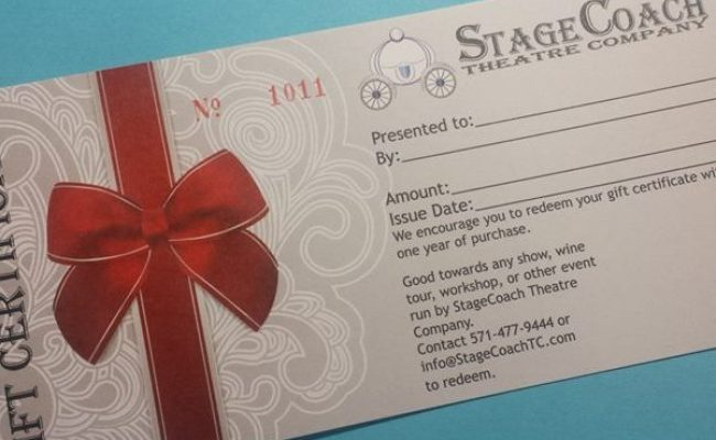 Gift Certificate Stagecoach Theatre Company