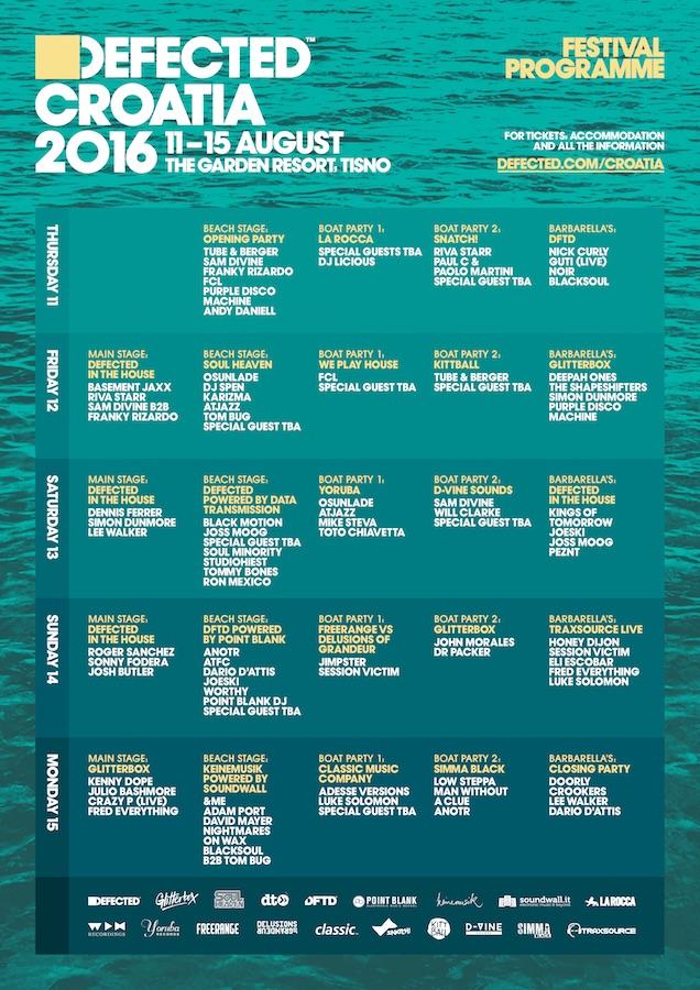 Defected Croatia 2016 lineup