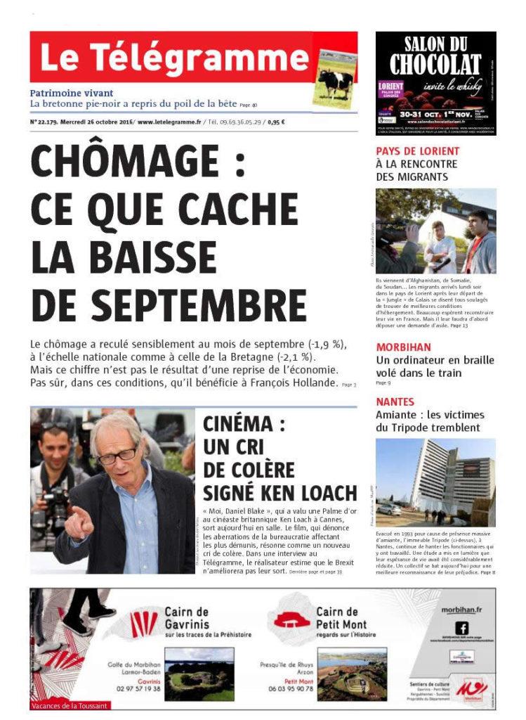 couverture Le Telegramme 26 octobre 2016