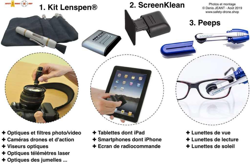 3 types de produits de nettoyage Lenspen