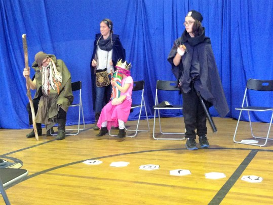 Campers and instructors in costume during the final presentation for Camp RolePLAY