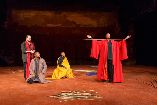 From left: Sean O'Callaghan; Jared McNeill; Ery Nzaramba & Carole Karemera in US Premiere of BATTLEFIELD C.I.C.T.—Théâtre des Bouffes du Nord Based on The Mahabharata and the play written by Jean-Claude Carrière Adapted and directed by Peter Brook and Marie-Hélène Estienne selected scenes photographed: Wednesday, September 28, 2016; 3:00 PM at the BAM Harvey Theater; Brooklyn Academy of Music, NYC; Photograph: © 2016 Richard Termine PHOTO CREDIT - Richard Termine