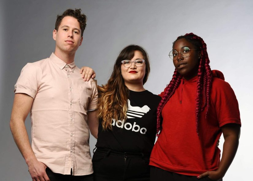 Monica Ogden & KP Dennis, pictured with Tony Adams (L), from the Rage Sweater production of Lub Dub