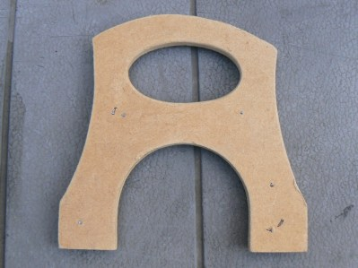 The MDF template used for routing the bridge bottom view