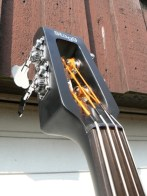 The headstock, still with the Presto strings