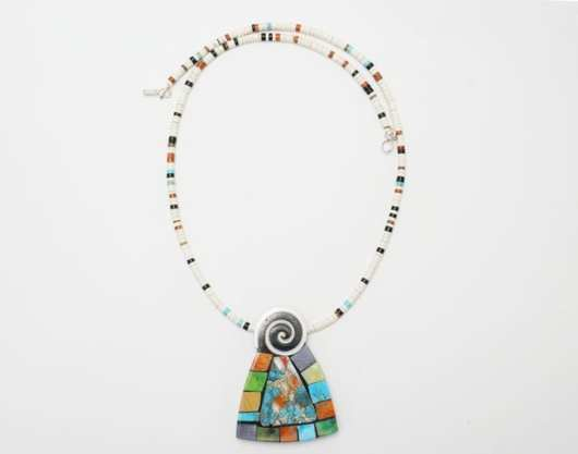 Mary Tafoya necklace turquoise - spiny oyster shell-copper