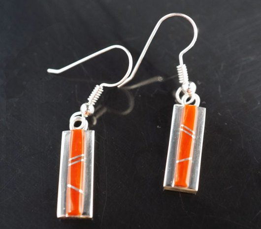 Earl Plummer Sterling Silver Coral Link Earrings