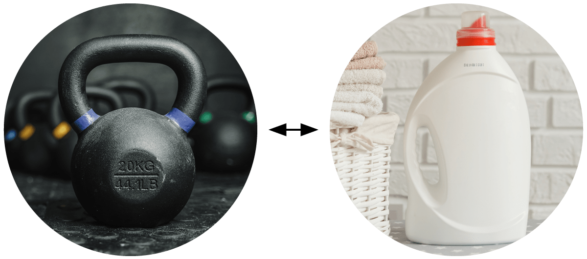 Kettlebell = Laundry Detergent, Jug Of Water