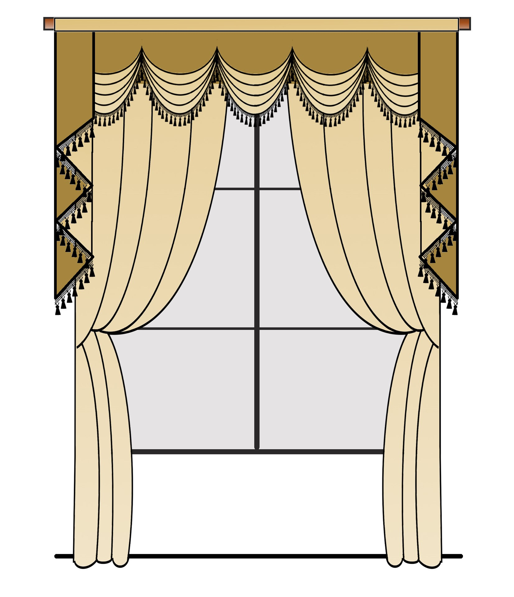 Austrian Pelmet Style Valance Curtain