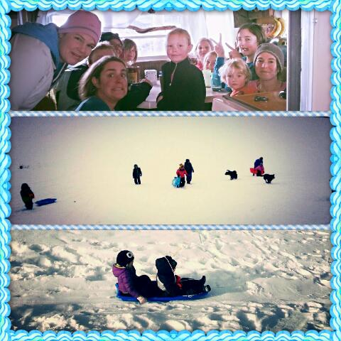three pictures of adults and children at a sledding outing