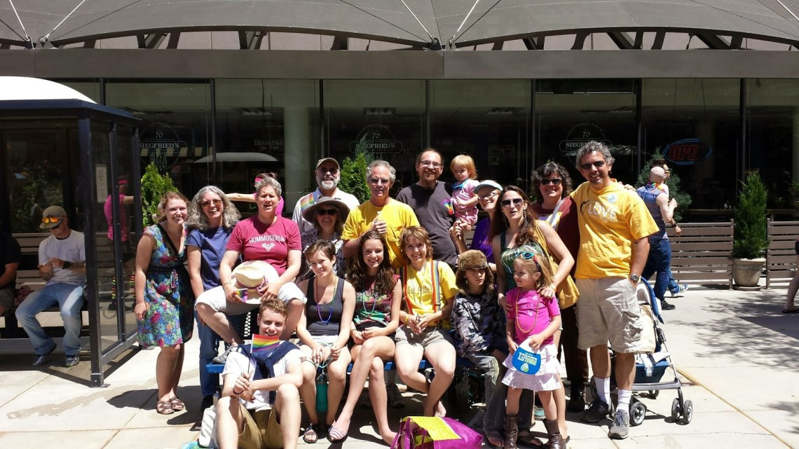 A group of CVUU members posing for a picture at the Gay Pride Parade in Salt Lake City
