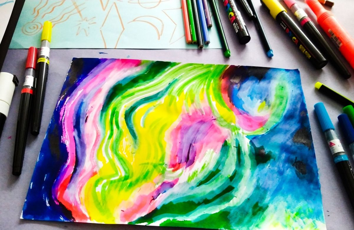 Cosmic doodling at the Destress drawing group