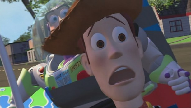 Buzz and Woody team up to save each other.