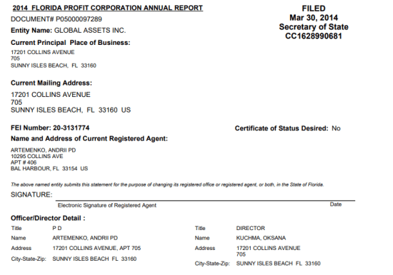 Document showing Andrey Artemenko controls Global Assets Inc.