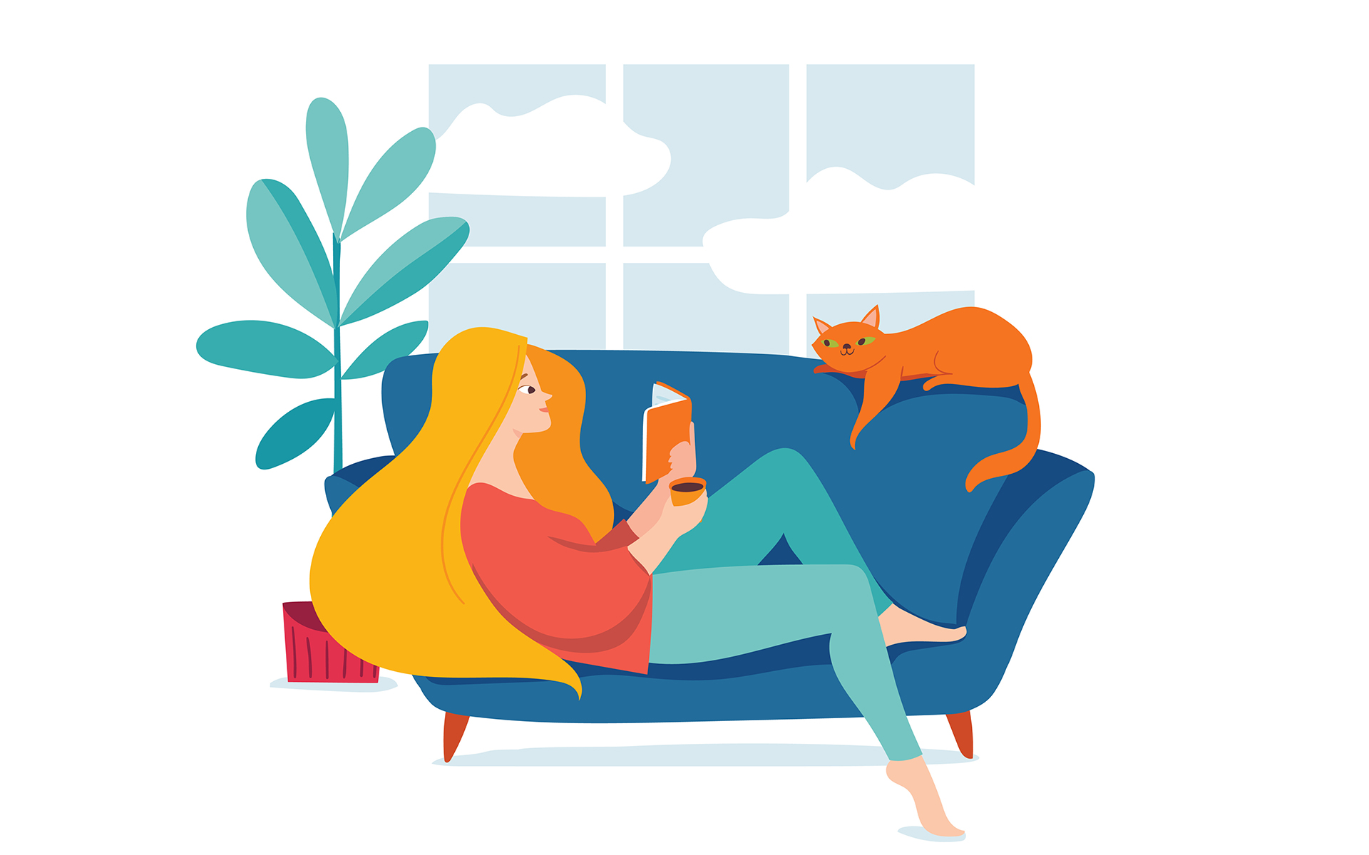 4 Books We're Reading to Replenish Our Energy - Hygge illustration with a woman reading a book