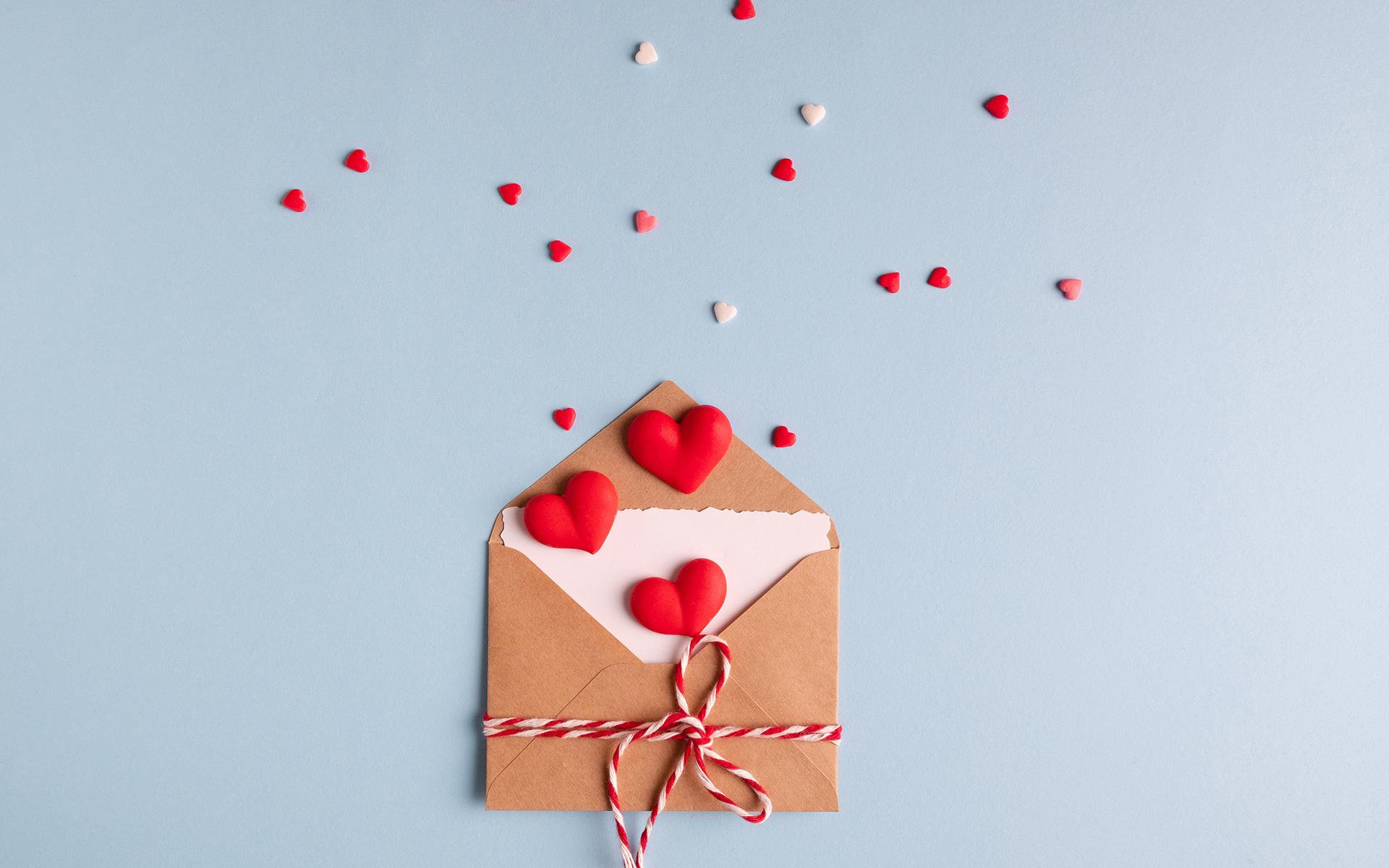 Love Letter Guided Meditation - Minimal valentine day concept. Valentine's day love letter postcard