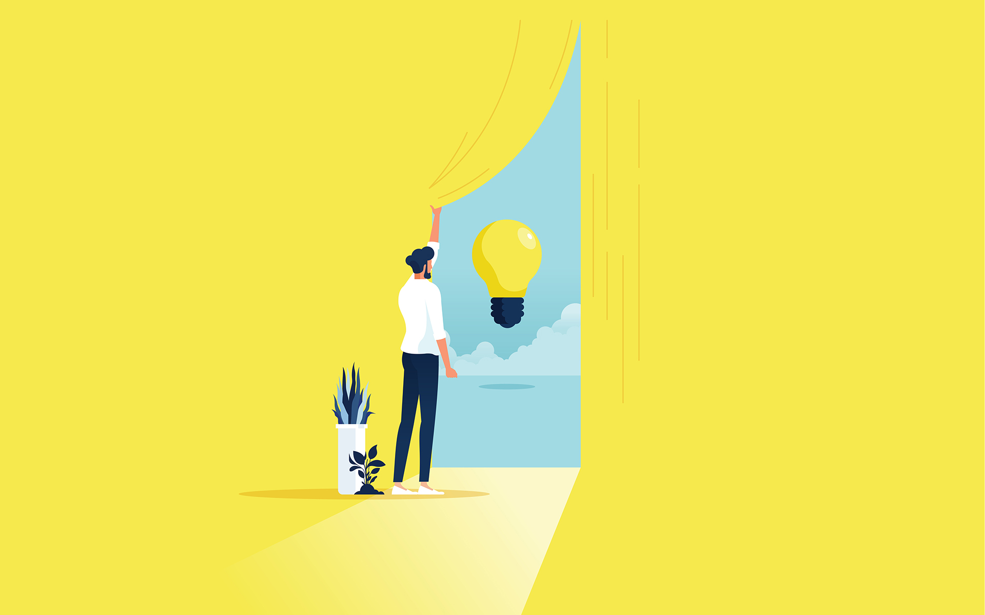 Business creativity and finding solution vector concept with businessman opening Curtain trying to get some new ideas, innovations, inventions