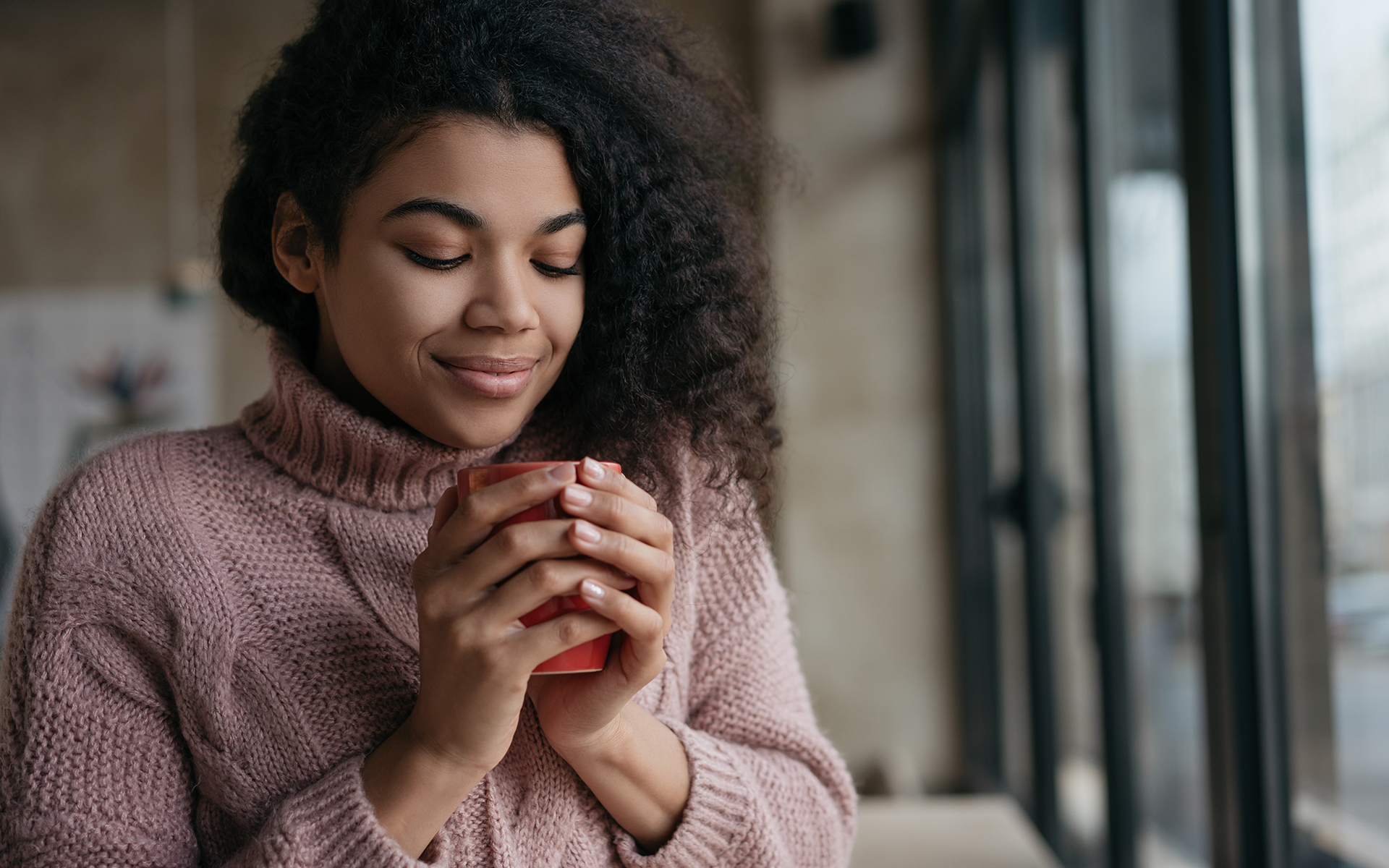 3 practices for calm and equanimity - Portrait of young beautiful woman holding cup