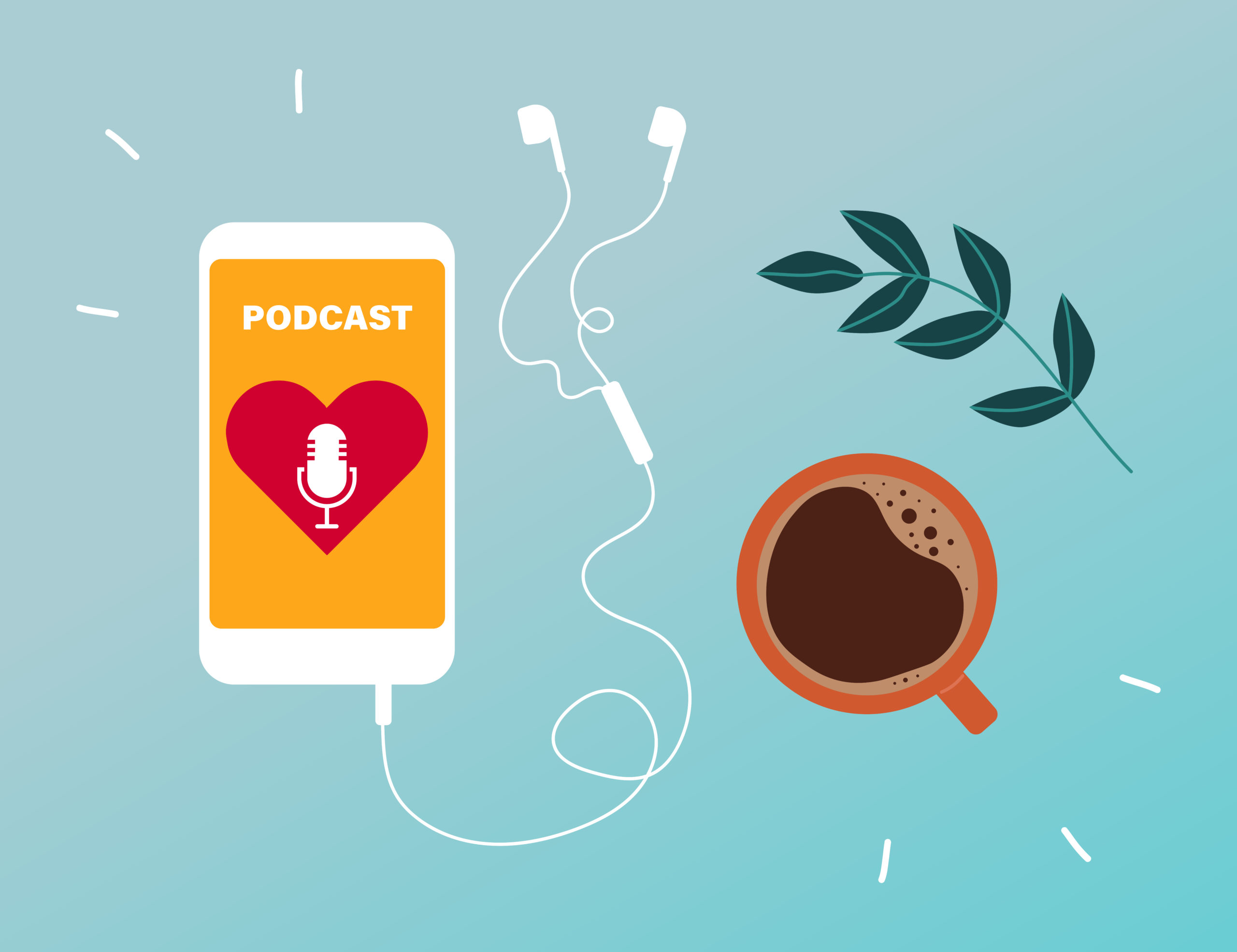6 Podcasts We Loved in 2020 - Illustration of a coffee cup, iphone, and headphones