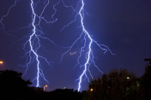 A photograph of lightning strikes.