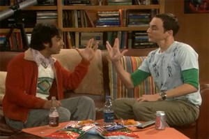 A photograph of American actors Kunal Nayyar and Jim Parsons playing the unconventional game of Rock, Paper, Scissors, Lizard, Spock in the popular TV series 'The Big Bang Theory'.