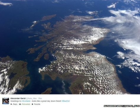 "A photograph of Scotland taken on board the International Space Station (ISS) on 14 October 2014. ""Looks Like a Great Day, Scotland!"""