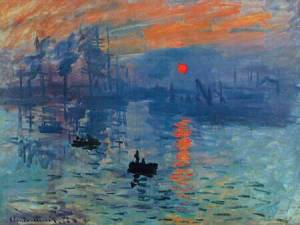 "An image showing Claude Monet's painting ""Impression Sunrise"" (1872)."