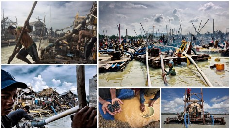 A photographic collage of the makeshift pontoons that are used for tin mining in Indonesia.