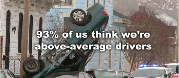 """A meme demonstrating the Dunning-Kruger effect in action. The photograph shows a car upside-down. The caption reads: """"93% of us think we're above-average drivers""""."""