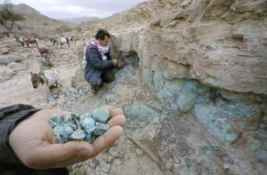 A photograph showing the open-cast mining of nitrates in the Atacama desert of Chile, in South America.