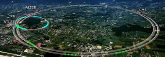A composite aerial photograph showing the site of CERN across the Franco-Swiss border, and an outline of the super collider superimposed on it, with the location of the four detectors: ALICE, ATLAS, LHCb and CMS.