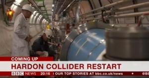 """A screenshot image from the BBC News Channel, with the habitual typographical error. The onscreen caption reads: """"Hardon Collider Restart""""."""