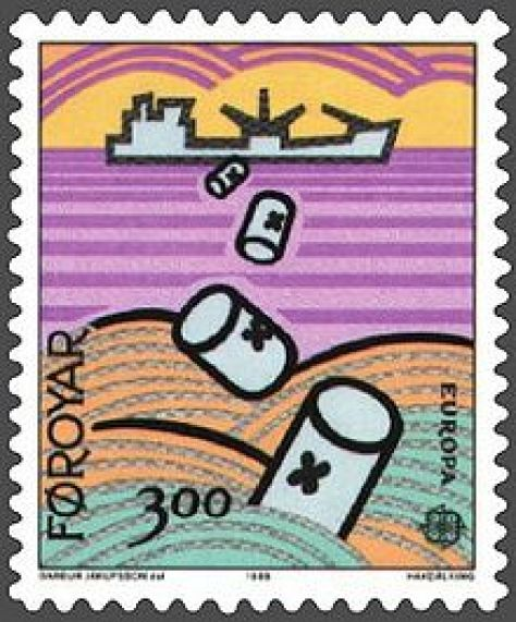 A stamp from the Faroe Islands depicting a naval ship dumping barrels of chemical warfare agents at sea.