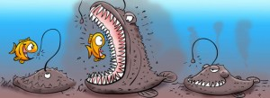 A cartoon illustrating the deadly hunting technique of the Angler fish.