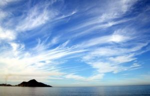 A photograph of cirrus clouds.
