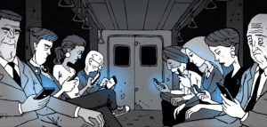 A cartoon depicting public transport passengers all connected through their power-hungry smart communication devices.