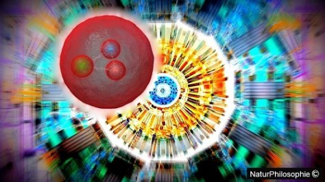 Abstract artist impression of the particle newly discovered at CERN in psychedelic colours. Artwork: NaturPhilosophie