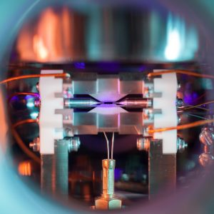 David Nadlinger's prize-winning photograph of a single atom, pictured with a conventional camera.