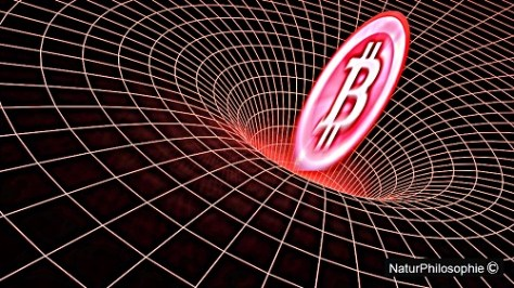 Artwork showing a Bitcoin symbol being sucked into a gravity well. Image: NaturPhilosophie